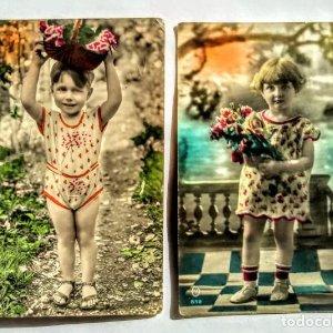 lote 2 fotografias infantiles de 1930
