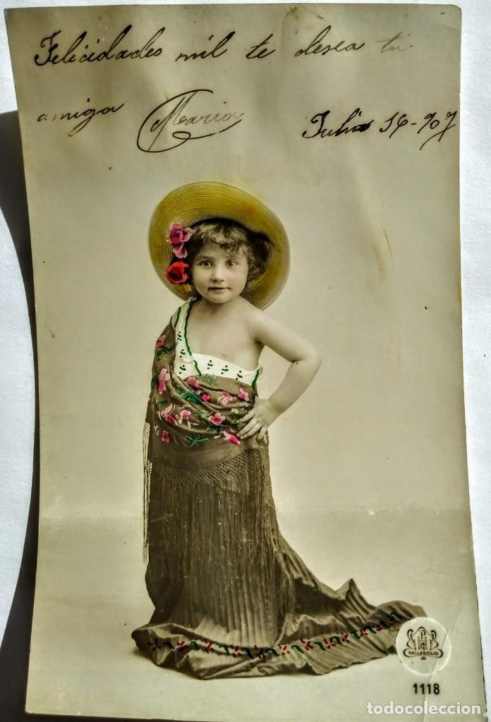 1907 FELICITACIÓN (Fotografía Antigua - Tarjeta Postal)