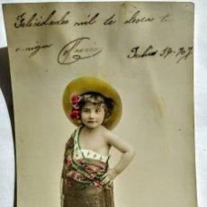 Fotografía antigua: 1907 FELICITACIÓN. Lote 134753110