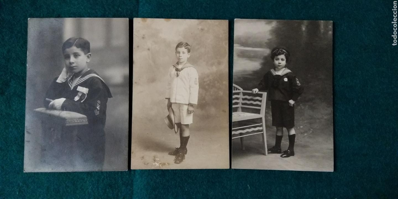 3 FOTOGRAFIAS POSTAL DE NIÑOS 1ª COMUNION (Fotografía Antigua - Tarjeta Postal)