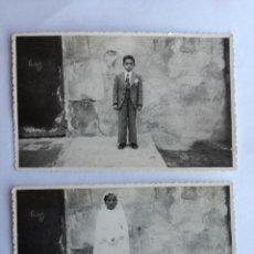 Fotografía antigua: NIÑO Y NIÑA VESTIDOS DE PRIMERA COMUNIÓN - 2 FOTOGRAFIAS POSTALES ANTIGUAS TROQUELADAS. Lote 142918554