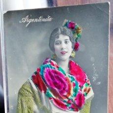 Fotografía antigua: POSTAL FOTOGRÁFICA DE ARGENTINITA CON COLOR. Lote 147168170