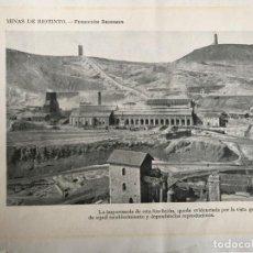 Fotografía antigua: FOTO IMPRESA PROCEDENTE DE LIBRO ANTIGUO MINAS DE RIOTINTO. Lote 149245906