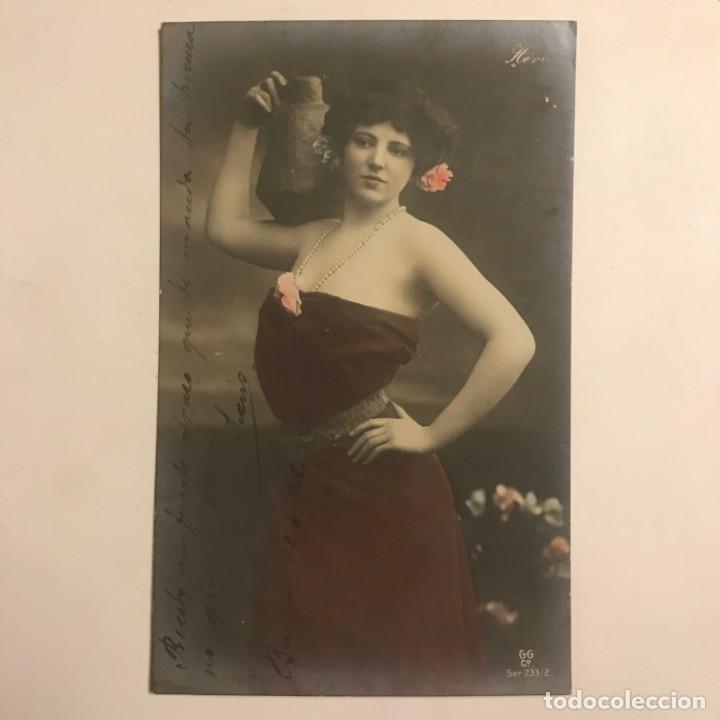 Fotografía antigua: Mujer con jarrón. Fotografía / Tarjeta postal. Original. GC 233/2 Manuscrita por ambas caras - Foto 2 - 154489178