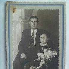 Fotografía antigua: BONITA FOTO DE ESTUDIO DE BODA, AÑOS 40 . DE BAEZ , HUELVA. Lote 156553306