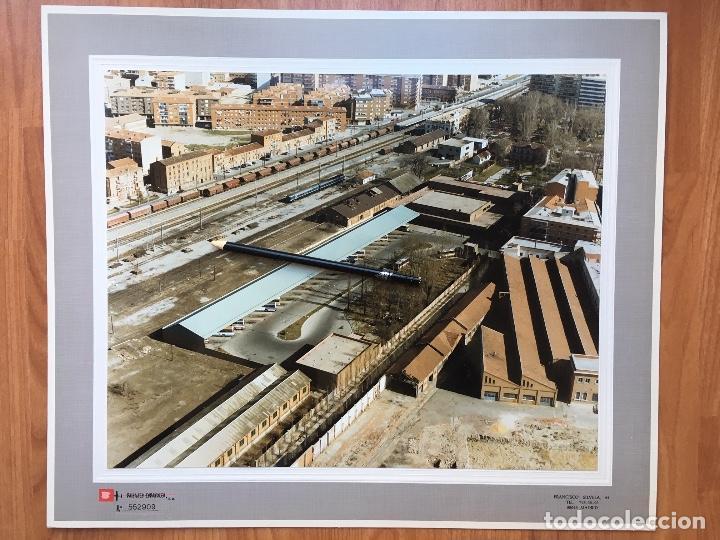 PAISAJES ESPAÑOLES FOTOGRAFIA AEREA 39X30,5 PALENCIA RENFE FERROCARRILES (Fotografía Antigua - Tarjeta Postal)