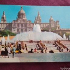 Fotografía antigua: TARJETA POSTAL BARCELONA PALACIO NACIONAL Y FUENTE MONUMENTAL. Lote 163570753