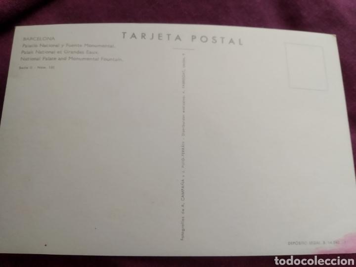 Fotografía antigua: Tarjeta postal Barcelona Palacio Nacional y fuente monumental - Foto 2 - 163570753