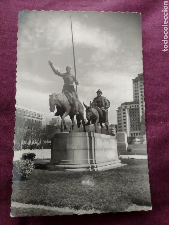 TARJETA POSTAL MADRID MONUMENTO DE CERVANTES DON QUIJOTE Y SANCHO PANZA (Fotografía Antigua - Tarjeta Postal)