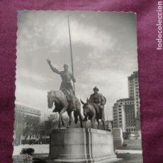 Fotografía antigua: TARJETA POSTAL MADRID MONUMENTO DE CERVANTES DON QUIJOTE Y SANCHO PANZA. Lote 163572036
