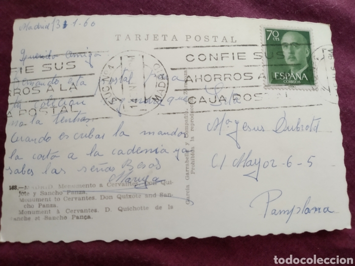 Fotografía antigua: Tarjeta postal Madrid monumento de Cervantes don Quijote y Sancho Panza - Foto 2 - 163572036