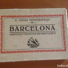 Fotografía antigua: JARDINES Y FUENTES DE MONTJUICH - ALBUM 21 VISTAS FOTOGRÁFICAS - TALLERES ORIOL BARCELONA. Lote 168495524
