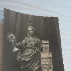 Fotografía antigua: ANTIGUA FOTO POSTAL.SANTA BARBARA.PATRONA ARTILLERIA.ESCULTURA DUQUE CORNEJO.ECIJA 1937? . Lote 170227080