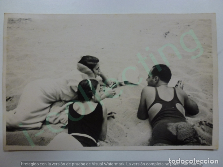FOTOGRAFÍA ANTIGUA. BAÑISTAS EN LA PLAYA DE LAS CANTERAS. LAS PALMAS DE G.C. 1933 (14 CM X 9 CM). (Fotografía Antigua - Tarjeta Postal)