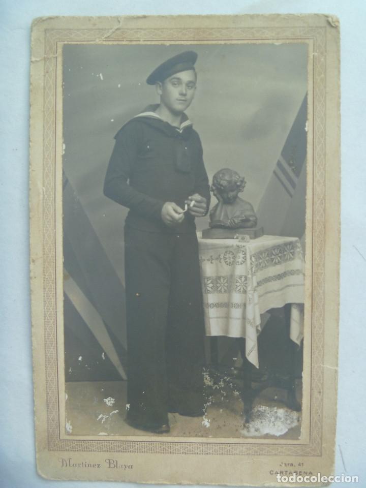 MARINA GUERRA REPUBLICA: FOTO MARINERO, LEPANTO ¨ BRIGADAS .. ¨, 1934 . DE MARTINEZ BLAYA, CARTAGENA (Fotografía Antigua - Tarjeta Postal)