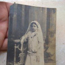 Fotografía antigua: FOTOGRAFÍA NIÑA PRIMERA COMUNIÓN - JULIO DERREY - VALENCIA -. Lote 172728502