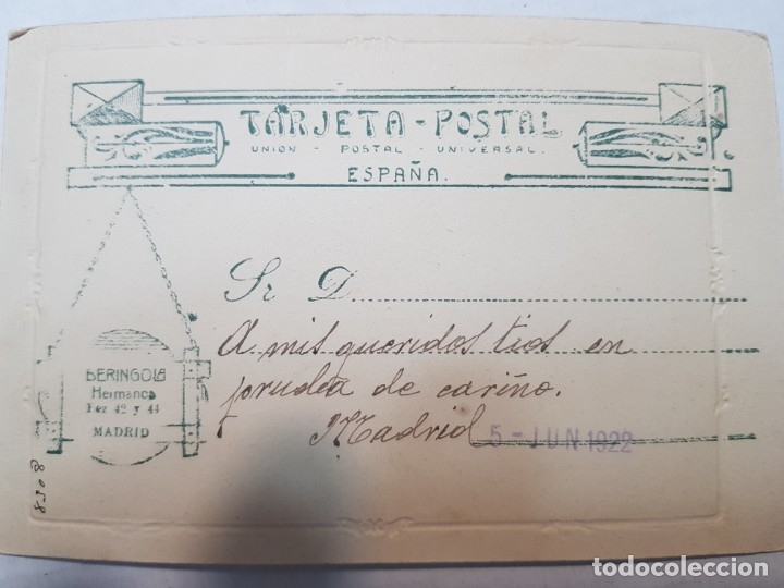 Fotografía antigua: Fotografía Antigua-Posado de Estudio-Beringola Madrid 1922 sellada - Foto 3 - 174590860