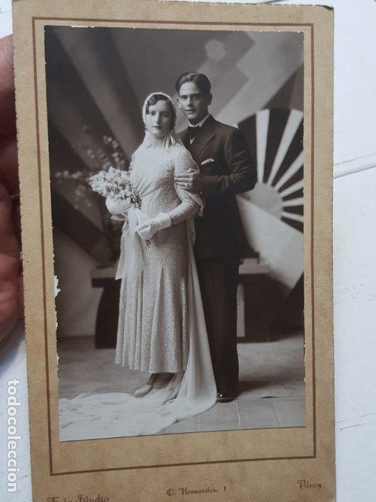 FOTOGRAFÍA ANTIGUA-POSADO DE ESTUDIO-FOTO STUDIO ALCOY AÑO 1932 SELLADA (Fotografía Antigua - Tarjeta Postal)