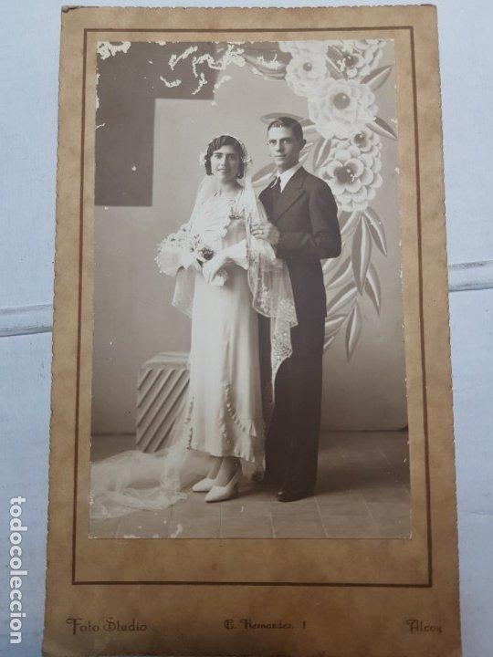 FOTOGRAFÍA ANTIGUA-POSADO DE ESTUDIO-FOTO STUDIO ALCOY AÑO 1934 SELLADA (Fotografía Antigua - Tarjeta Postal)