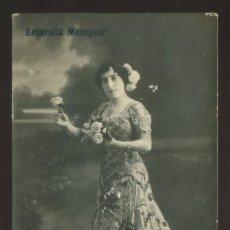 Fotografía antigua: FOTO *ALOGRAFF AMERICAN, BARCELONA* AUTÓGRAFO *ENCARNITA MESEGUER* FECHADA 1917. TEATRO.. Lote 176104675