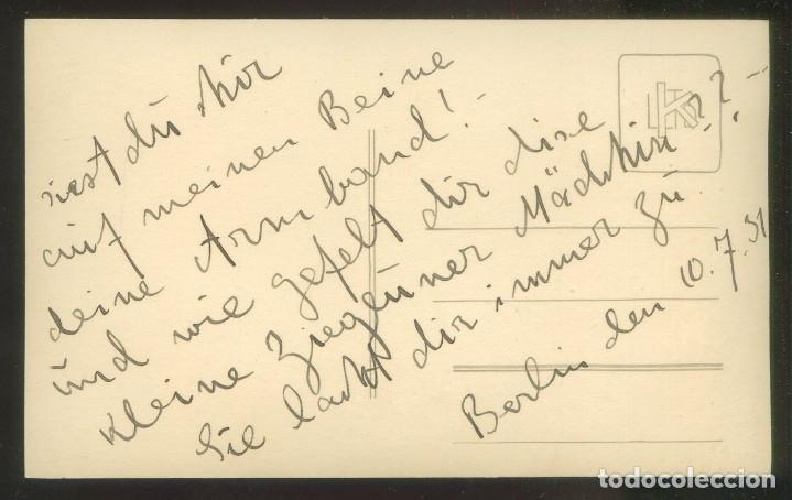 Fotografía antigua: Foto *S. Frank, Berlin* Autógrafo sin descifrar. Fechada 1931. - Foto 2 - 176282730