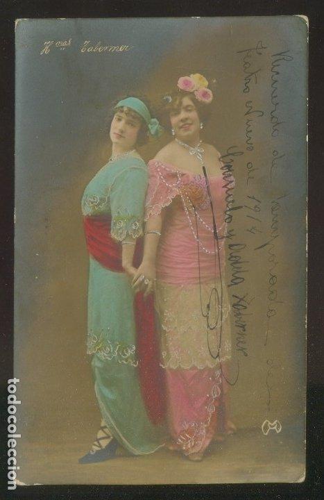 FOTÓGRAFO SIN DESCIFRAR. AUTÓGRAFO *HERMANAS TABERNER* FECHADA 1914. (Fotografía Antigua - Tarjeta Postal)