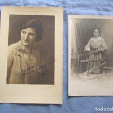 Fotografía antigua: LOTE DOS FOTOGRAFIAS DE MUJER MEDIADOS SIGLO XX. Lote 176739219