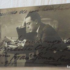 Fotografía antigua: ANTIGUA FOTOGRAFIA.ACTOR.DIRECTOR DE COMPAÑIA.FRANCISCO GOMEZ FERRER.DEDICADA Y FIRMADA 1918. Lote 176866698