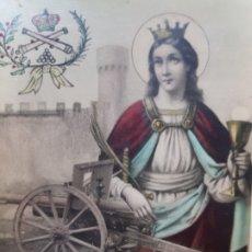 Fotografía antigua: POSTAL ANTIGUA SANTA BARBARA PATRONA ARTILLERIA AÑOS 30 MUY ESCASA . Lote 177142587