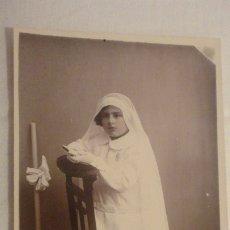 Fotografía antigua: ANTIGUA FOTOGRAFIA.NIÑA PRIMERA COMUNION.FOTO BAEZA.PUERTO DE LA CRUZ.TENERIFE.1930. Lote 177956398