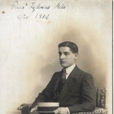 Fotografía antigua: FOTOGRAFIA DE ESTUDIO, CABALLERO - AMADEO FOTÓGRAFO - 1912. Lote 178601637