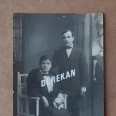 Fotografía antigua: ANTIGUA FOTOGRAFÍA POSTAL MATRIMONIO. TRUCHAUD Y CANO. MELILLA. 1914.. Lote 180012065