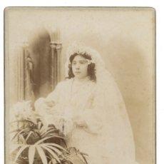 Fotografía antigua: ANTIGUA FOTOGRAFIA ANTº Y EMILIO F. DITS NAPOLEON, FOTOGRAFOS DE SS. MM. Y AA. REALES. NIÑA COMUNION. Lote 180137527