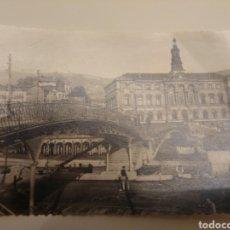 Fotografía antigua: ANTIGUA FOTOGRAFÍA PUENTE DE SAN AGUSTÍN BILBAO AYUNTAMIENTO BILBAO FINALES S. XIX PAIS VASCO. Lote 181622830