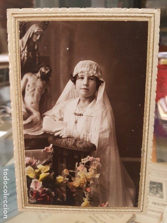 ANTIGUA FOTOGRAFIA RELIGIOSA COLOREADA MATRAN CARTAGENA AGUILAS MURCIA 1930 (Fotografía Antigua - Tarjeta Postal)