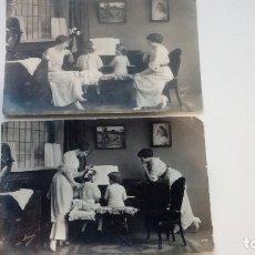 Fotografía antigua: FOTOGRAFIAS ANTIGUAS LOTE DE 2 UDS. NIÑOS Y MADRES TOCANDO EL PIANO MADE IN FRANCE. Lote 182985191