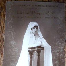 Fotografía antigua: POSTAL FOTOGRÁFICA DE UNA NIÑA EN EL DÍA DE SU PRIMERA COMUNIÓN, TARIFA 1930. Lote 184456452