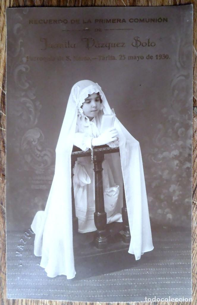 POSTAL FOTOGRÁFICA DE UNA NIÑA EN EL DÍA DE SU PRIMERA COMUNIÓN, TARIFA 1930 (Fotografía Antigua - Tarjeta Postal)