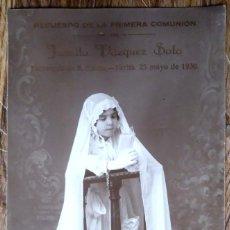 Fotografía antigua: POSTAL FOTOGRÁFICA DE UNA NIÑA EN EL DÍA DE SU PRIMERA COMUNIÓN, TARIFA 1930. Lote 184456716