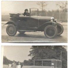 Fotografía antigua: LOTE 2 FOTOGRAFÍAS DE PERSONAS EN AUTOMÓVILES AÑOS 20-30. Lote 190391808