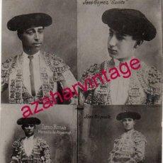 Fotografía antigua: RARISIMA FOTOCOMPOSICION DE RAFAEL Y JOSELITO EL GALLO, JUAN BELMONTE Y MORENITO DE ALGECIRAS. Lote 193576106