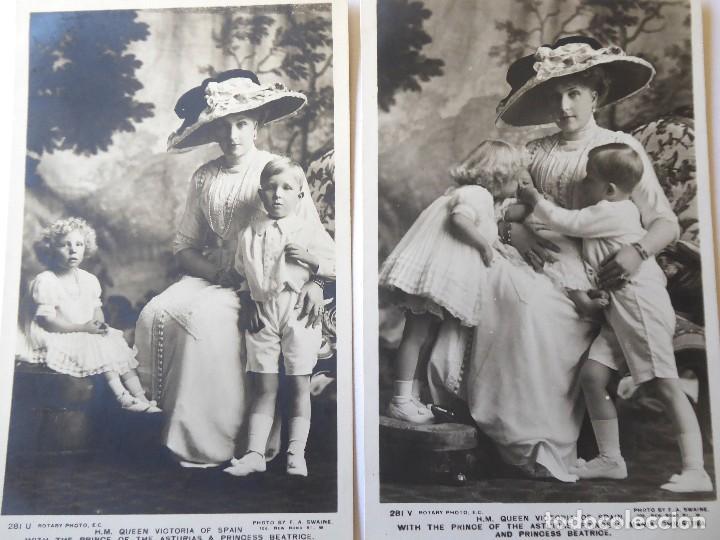 Fotografía antigua: F-4577. REINA VICTORIA EUGENIA . 4 FOTOS ROTARY PHOTO SERIES, Y FRANZEN.. DOS CON HIJOS JUAN Y BEATR - Foto 2 - 194625582
