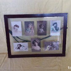 Fotografía antigua: CUADRO CON 7 POSTALES ANTIGUAS DE PPIOS DEL XX, PRESENTADAS EN CRISTAL, UNOS 55 X 44 CMS.. Lote 194653961