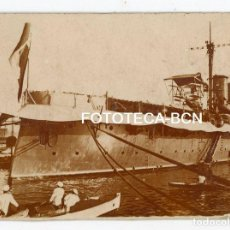 Fotografía antigua: FOTO ORIGINAL BARCO DE GUERRA ACORAZADO POSIBLEMENTE PUERTO BARCELONA AÑOS 20/30. Lote 194659645