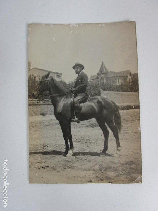 Fotografía antigua: Antigua Tarjeta Posta - Caballero a Caballo - Foto 3 - 194860678