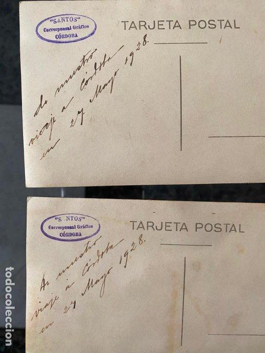 Fotografía antigua: lote de 2 fotopostales con personajes en córdoba en el año 1928 , santos corresponsal gráfico - Foto 2 - 195359722