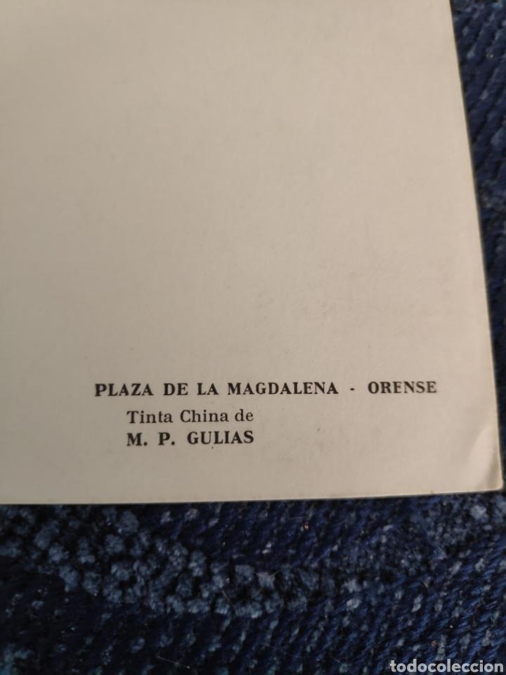 Fotografía antigua: Tinta china de Mari Paz gulias - Plaza de la Magdalena - Orense Postal - Foto 3 - 195382353