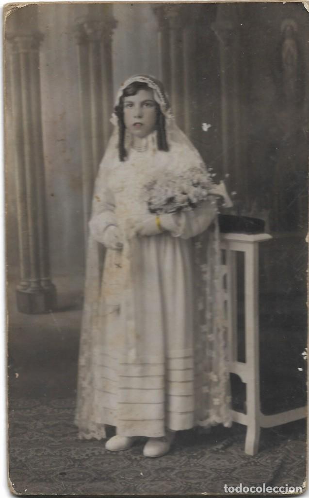 FOTOGRAFÍA ANTIGUA NIÑA DE COMUNIÓN COLOREADA JUNIO 1935 - FOTÓGRAFO VERDÉS - CABAÑAL (VALENCIA) (Fotografía Antigua - Tarjeta Postal)