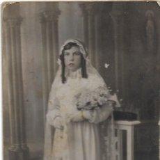 Fotografía antigua: FOTOGRAFÍA ANTIGUA NIÑA DE COMUNIÓN COLOREADA JUNIO 1935 - FOTÓGRAFO VERDÉS - CABAÑAL (VALENCIA). Lote 195426856