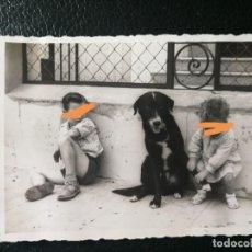 Fotografía antigua: ANTIGUA FOTOGRAFÍA. NIÑO CON EL PERRO. FOTO AÑOS 50.. Lote 197152418